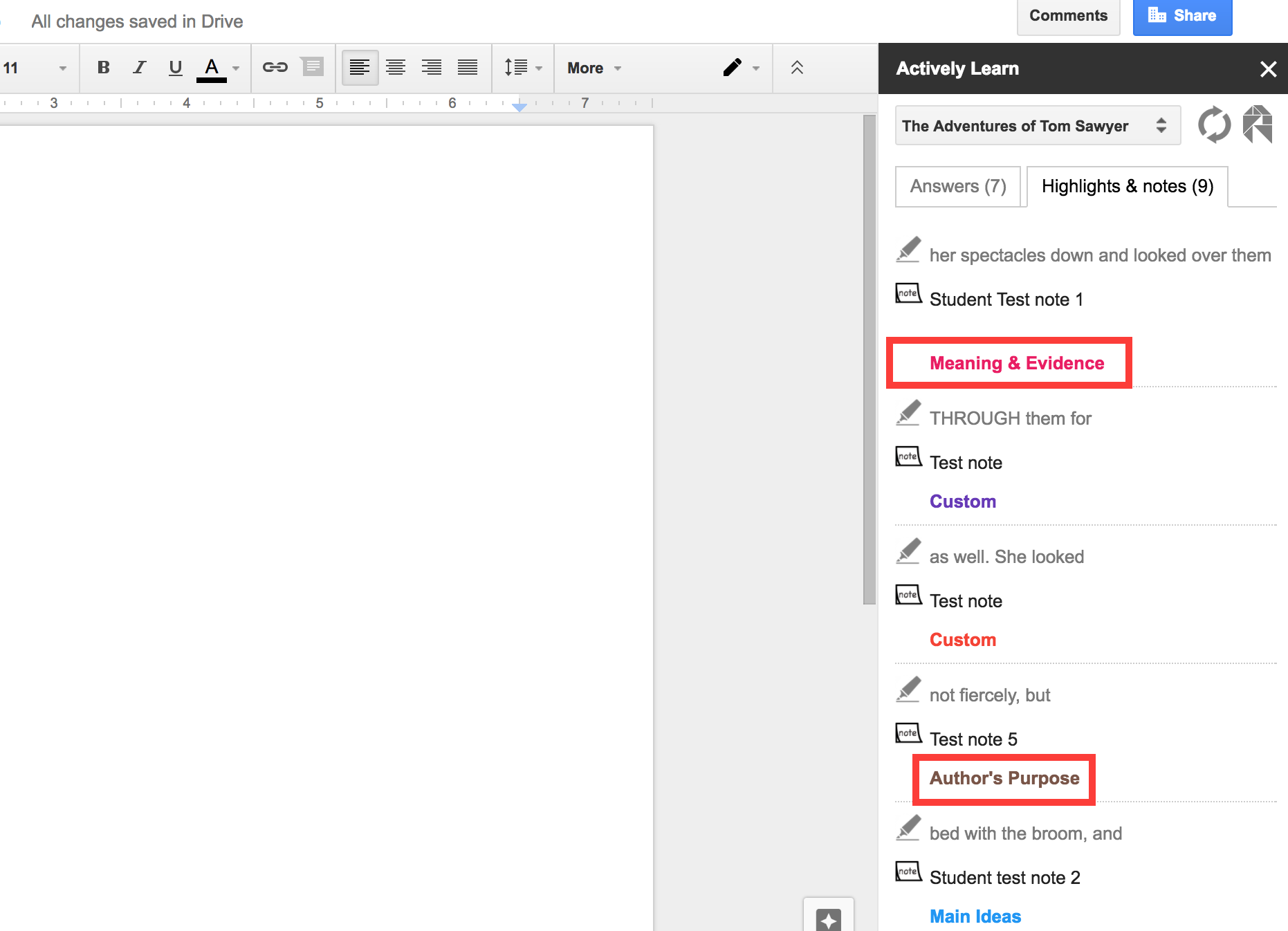 Actively Learn - Google Docs add-on
